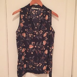 Violet and Claire Navy Floral Sleeveless Blouse
